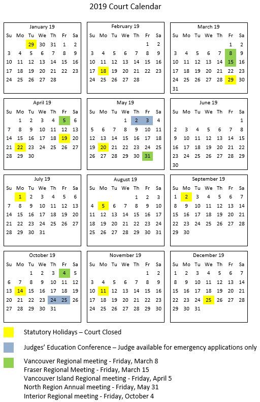 Bc Calendar 2019 Provincial Calendar | Provincial Court of British Columbia