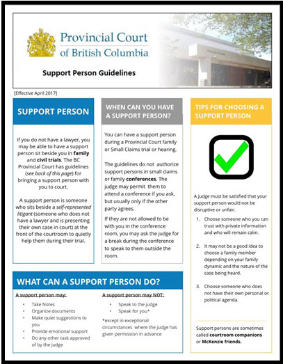 share our support person guidelines poster provincial court of