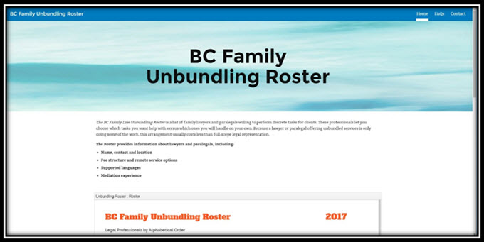 Unbundling a new way to offer or obtain affordable legal services theres a great new tool to help you find a family lawyer who offers unbundled services the bc family law unbundling roster lists legal professionals solutioingenieria Image collections